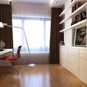 現代窗簾四居簡約風格書房收納效果圖