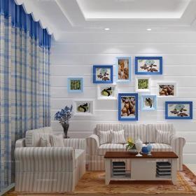 照片墻藍色70㎡茶幾小戶型客廳地中海風格清新沙發背景墻設計裝修效果圖