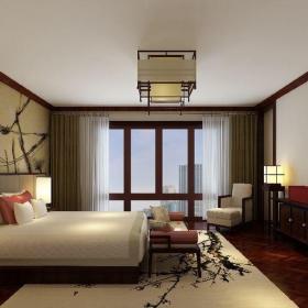 中式風格三居室臥室照片墻裝修效果圖
