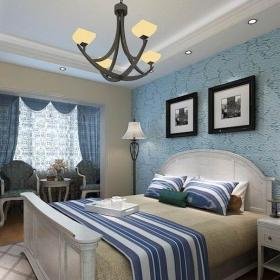 地中海風格二居室臥室吊頂裝修效果圖
