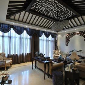 东南亚风格四居室客厅隔断装修效果图