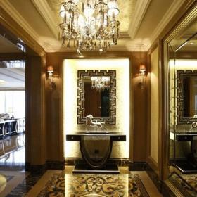 壁灯地面拼花走廊走廊吊顶吊灯欧式风格进门玄关吊顶造型装修效果图