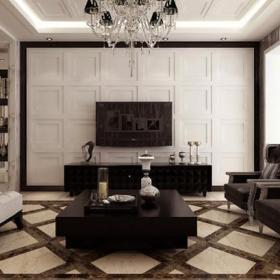地面拼花家居擺件單人沙發壁柜茶幾簡歐風格客廳電視背景墻裝修效果圖簡歐風格腳凳圖片