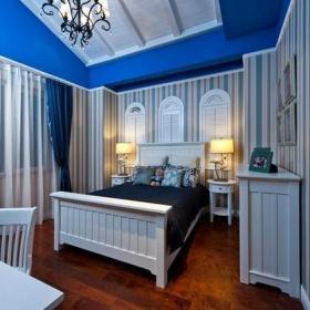 地中海风格别墅卧室背景墙装修效果图地中海风格双人床图片