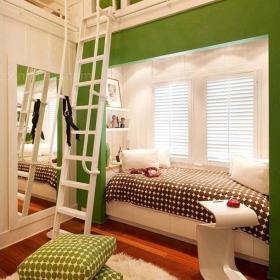 綠色抱枕創意生活用品現代復式樓床充滿童趣的兒童房飄窗裝修裝修效果圖