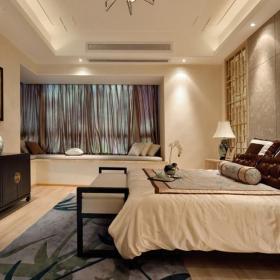 双人床地柜墙面装饰新中式地毯卧室壁纸三居主卧室背景墙纸装修图片装修效果图