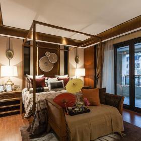 双人床墙面装饰家具东南亚床头柜小别墅卧室床头背景墙面装饰装修图片效果图大全