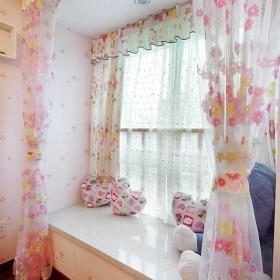 飘窗窗帘韩式卧室窗帘卧室飘窗装修效果图