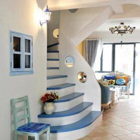 楼梯120㎡跃层过道地中海风格小别墅的浪漫柔情效果图