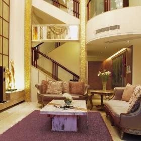 吊頂樓梯新中式風格客廳裝修效果圖