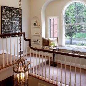 二手房北歐新穎的復式樓過道飄窗設計裝修效果圖