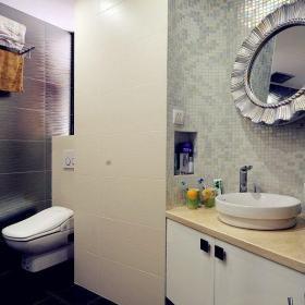 新古典风格三居室卫生间隔断装修图片效果图