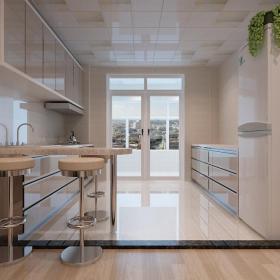 家具整体橱柜餐椅现代橱柜餐台二居室厨房正面装修效果图