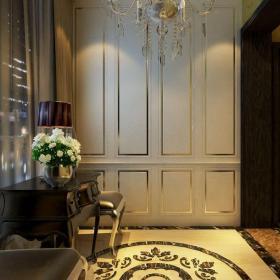 吊燈椅凳燈具簡歐風格走廊墻面裝飾細節裝修效果圖