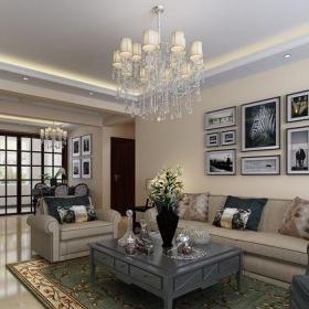 混搭风格三居室客厅背景墙装修效果图大全