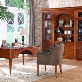 二居窗簾美式古典風格書房裝修圖片美式古典風格桃花芯木書柜圖片裝修效果圖