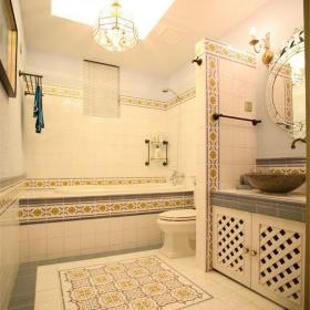 地中海风格三居室卫生间灯具装修效果图大全
