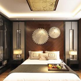 台灯双人?#24067;?#20855;新中式三居卧室背景墙面装饰装修效果图
