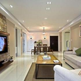 混搭风格三居室客厅背景墙装修效果图欣赏