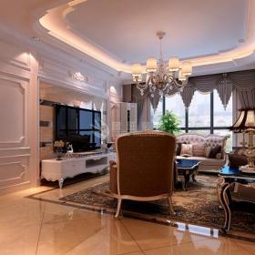 台灯沙发吊灯电视柜混搭电视背景墙时尚配搭客厅家具图片装修效果图