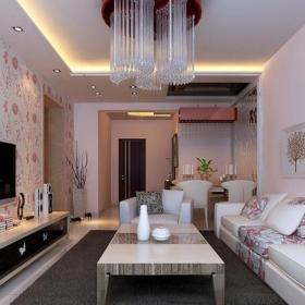 現代簡約一居室客廳吊頂裝修效果圖