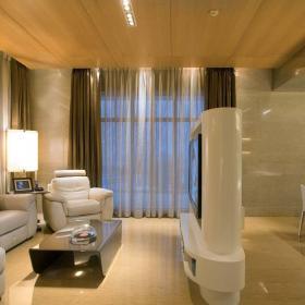 現代簡約風格別墅樣板房客廳電視背景墻隔斷裝修效果圖