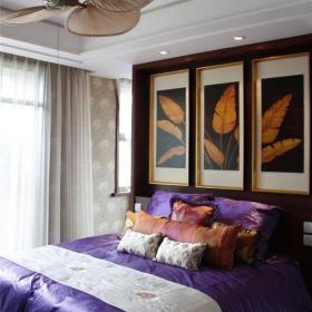 吊顶背景墙别墅吊顶新中式风格卧室装修图效果图欣赏