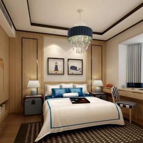 中式风格三居室卧室背景墙装修图片效果图