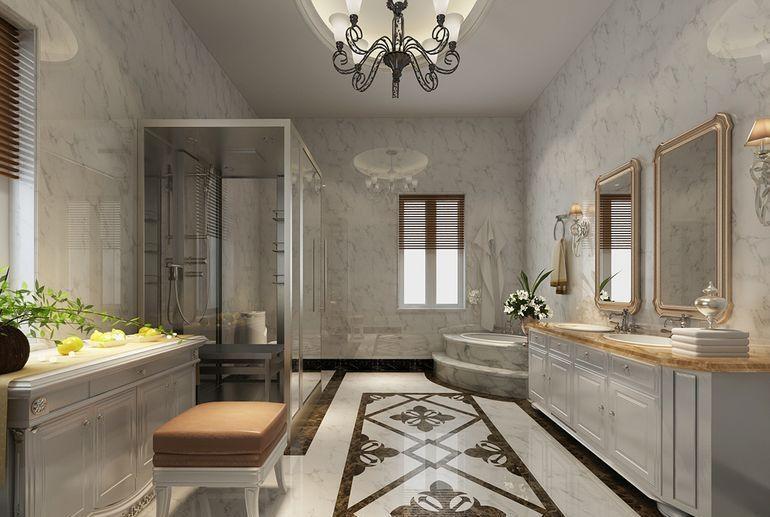 现代简约三居室卫生间背景墙装修效果图欣赏