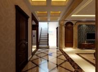 280㎡欧式古典风格复式楼过道吊顶装修效果图欧式古典风格是实木门图片