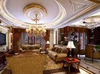 欧式古典四居室奢华客厅吊顶吊灯装修效果图