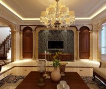 280㎡復式樓歐式古典風格客廳電視背景墻裝修效果圖歐式古典風格電視柜圖片