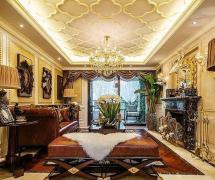 歐式古典風格四居室客廳吊頂裝修效果圖
