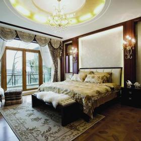 阳台门壁灯单人沙发家具床头柜简欧风格别墅卧室窗帘装修图片简欧风格双人床图片效果图欣赏