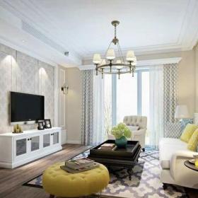 田園風格一居室客廳背景墻裝修效果圖