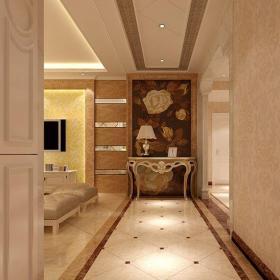简欧风格三居室玄关壁纸装修效果图欣赏