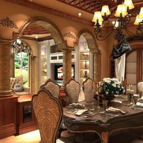 歐式古典風格一層別墅餐廳裝修效果圖歐式古典風格餐臺圖片