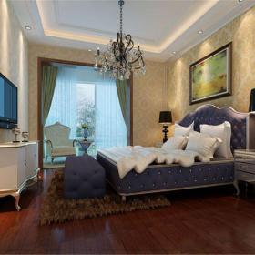 简欧风格二居室卧室窗帘装修效果图