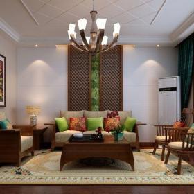 中式古典三居室客厅背景墙装修图片效果图