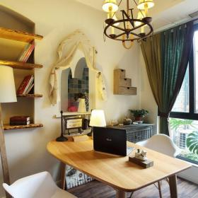 地中海風格三居室書房窗簾裝修效果圖