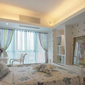 田園風格二居室臥室窗簾裝修效果圖欣賞