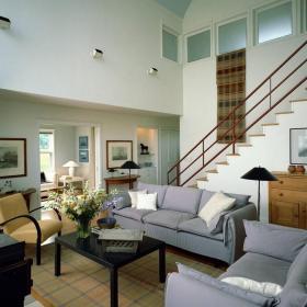 白色201平米以上别墅美式田园休闲沙发楼梯拓展客厅装修效果图