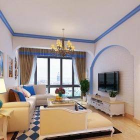 地中海風格三居室客廳背景墻裝修效果圖欣賞