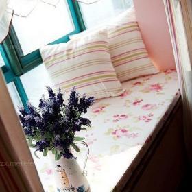 碎花壁紙粉色抱枕鄉村小戶型田園訴說浪漫情懷的韓式風格飄窗效果圖欣賞
