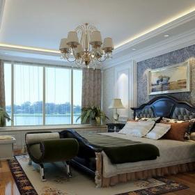 欧式三居室卧室床装修图片效果图