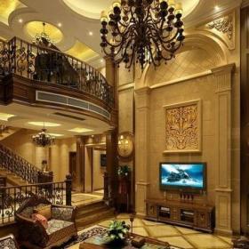 歐式古典風格小型別墅客廳電視背景墻裝修圖片歐式古典風格電視柜圖片效果圖大全