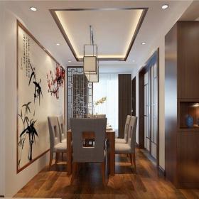 中式風格三居室餐廳背景墻裝修效果圖欣賞