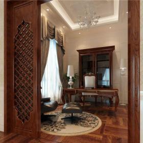 欧式古典+经典英伦四居室书房窗帘装修效果图大全