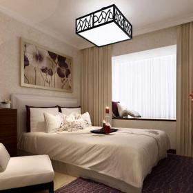 中式風格一居室臥室背景墻裝修效果圖
