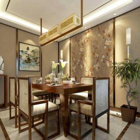 中式风格三居室餐厅楼梯装修效果图